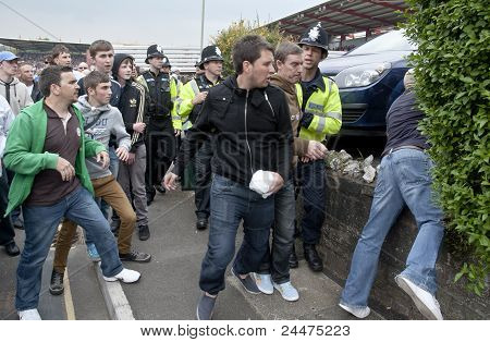 Plymouth Argyle Supporters Scuffle With Devon And Cornwall Police As They Prevent Football Violence