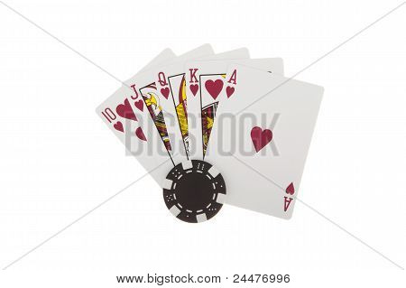 Royal Flush Of Hearts With Poker Chips