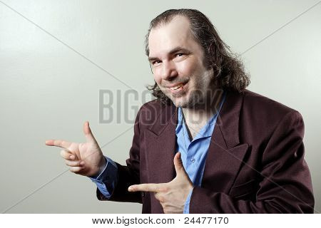 Confident Salesman Pointing