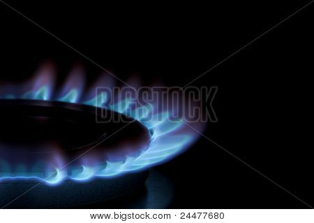 Blue Flames On Gas Cooker