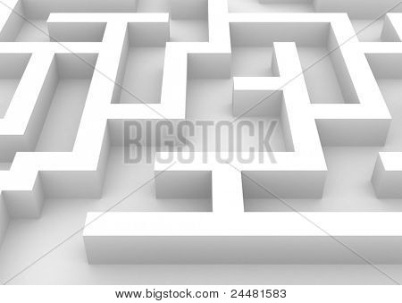 3D Illustration of a Maze up close