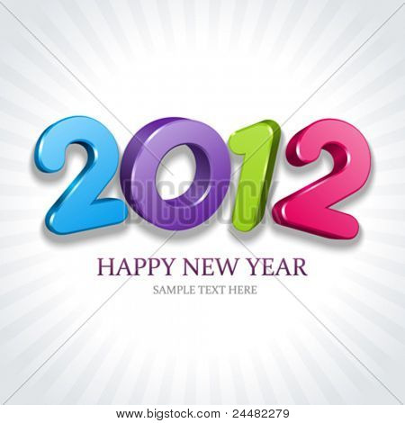 2012 Happy New Year 3d message vector background. Eps 10.