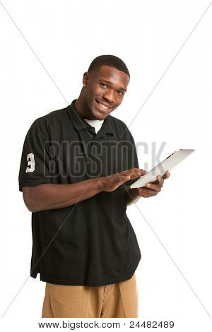 Happy African American College Student Working on Touch Screen Tablet PC
