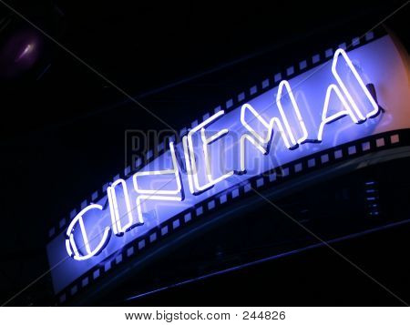 Blue Neon Cinema Sign
