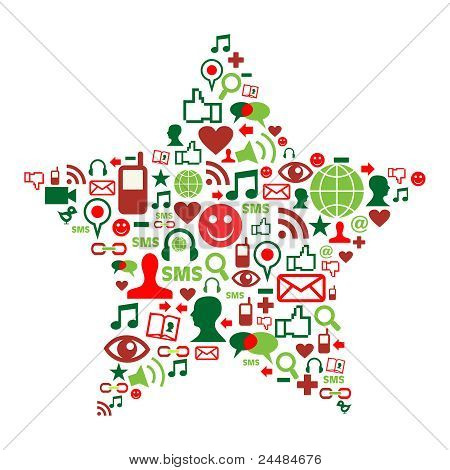 Social Media Icons In Christmas Star