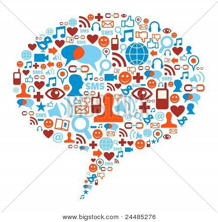 Concepto de la burbuja del Social Media