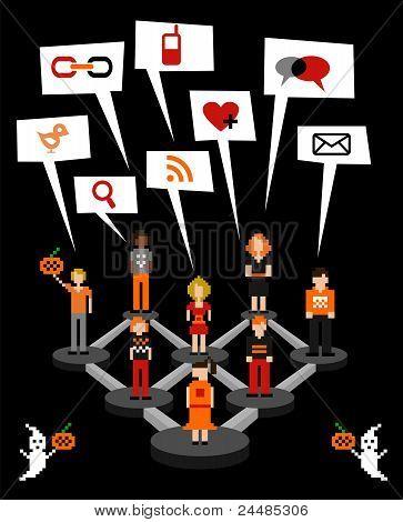 Soziales Netzwerk-Anschluss-Schema In Halloween