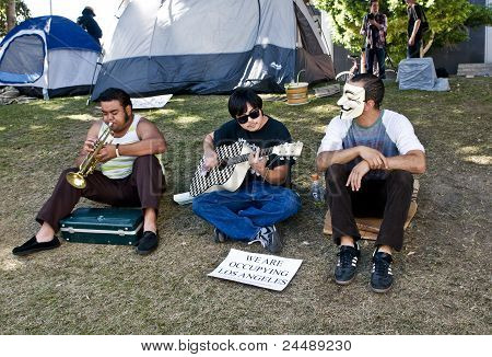 Musicians at the Occupy L.A. Protest