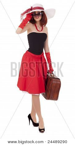 Fashion girl in retro style is dancing