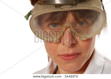Young Lady Technician In Safety Goggles