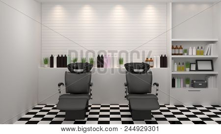poster of Salon Interior Modern Style,spa,beauty, 3d Illustration,hairdresser,hair, Nail Salon,background