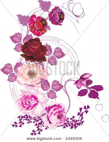 Red Poppy And Pink Rose Decoration