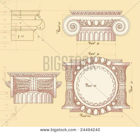Hand draw sketch ionic architectural order. Bitmap copy my vector ID 84635953
