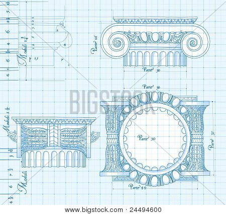 Blueprint - hand draw sketch ionic architectural order. Bitmap copy my vector ID 86211832