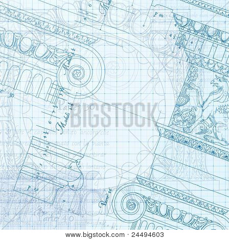 Architecture Blueprint - Hand draw sketch ionic architectural order. Bitmap copy my vector ID 86211826