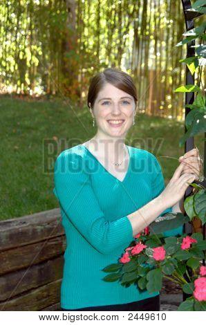 College Student In Garden