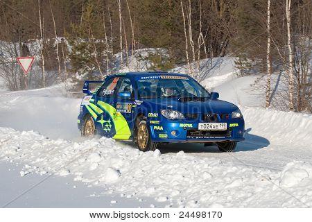 Rostov, Russia - Fubruary 07: Alex Safin Drives A Blue Subaru Impreza Car During Rostov Velikiy Russ