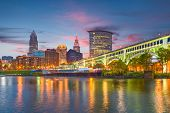 Cleveland, Ohio, USA downtown city skyline on the Cuyahoga River at twilight. poster