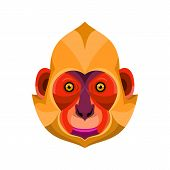 Flat Icon Illustration Of Mascot Head Of A White-headed, Golden-headed Or Cat Ba Langur Viewed From  poster
