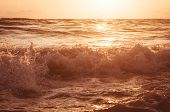 Summer Sea Sunset, The Sun, Waves And Clouds, Beautiful Dramatic Lighting poster