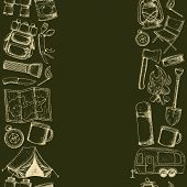 Seamless Borders Of Travel Equipment. Accessories For Camping And Camps. Sketch Illustration Of Camp poster