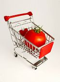 Metal Basket With A Ripe Red Tomato In It. Food Vegetable Consumption, Shopping Concept. poster