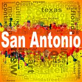 San Antonio Word Cloud Design. Creative Illustration Of Idea Word Lettering Typography . 3d Renderin poster