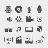 Movie Flat Vector Icons Set. Cinema Flat Vector Icons Set poster