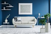 White And Blue Living Room poster