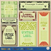 picture of art nouveau  - vintage style labels on different topics for decoration and design - JPG
