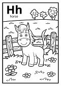 Coloring Book For Children, Colorless Alphabet. Letter H, Horse poster