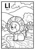 Coloring Book For Children, Colorless Alphabet. Letter L, Lion poster