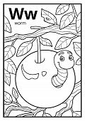 Coloring Book For Children, Colorless Alphabet. Letter W, Worm poster