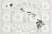 Outline Map Of Hawai With Transparent American Dollar Banknotes In Background