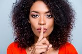 Shh! Closeup Portrait Of Mysterious Charming Woman With Modern Hairdo Asking For Keeping Silence Hol poster