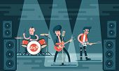 Concert Of Rock Band On Stage. Singing Guitarist, Bass Guitar Player, Drummer In Stylish Clothes. Ca poster