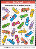 Summer Vacation Themed Visual Puzzle (suitable Both For Kids And Adults) With Flip-flops On The Beac poster