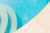 Clear Blue Water In The Pool. Part Of The Pool Closeup. Step Into The Water And Finish The Pool Bott poster