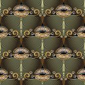 Floral Vintage Greek Key Meanders Grunge Seamless Pattern. Lace Ornamental Elegance Textured 3d Back poster