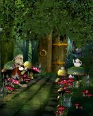 stock photo of tea party  - The magic mushroom path that leads into the magical world of fantasy - JPG