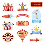 Set Of Circus Welcome. Invitation To Activity, Event, Loud Show, Presentation And An Opening. Greeti poster