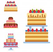 Wedding Cake Pie Sweets Dessert Bakery Flat Simple Style Isolated Vector Illustration.. Fresh Tasty  poster