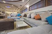 Interior Design Furnishing Decor Of The Salon Area In A Large Luxury Motor Yacht poster