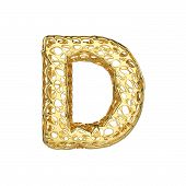 Alphabet Letter D Uppercase. Gold Font Made Of Yellow Cellular Framework. 3d Render Isolated On Whit poster