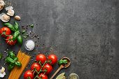 Food Background For Tasty Italian Dishes With Tomato. Various Cooking Ingredients With Spaghetti And poster