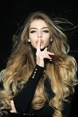 Hairstyle Hairdressing Concept. Sensual Girl With Wavy Shiny Hair. Sexy Blonde Woman With Natural Pe poster