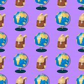 Globe Earth Geography Educational Backpack Seamless Pattern Background Planet Map Symbol Vector Illu poster