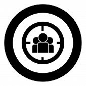 People In Target Or Target Audience Icon Black Color In Circle Round Vector Illustration poster