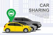 Car Sharing Banner With Auto. Automobile Concept On City Background. Rental Auto. Rent Service And C poster