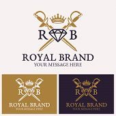 Two Crossed Swords And Diamonds With Crown Vector Logo Template For Uses In Different Spheres. Jewel poster